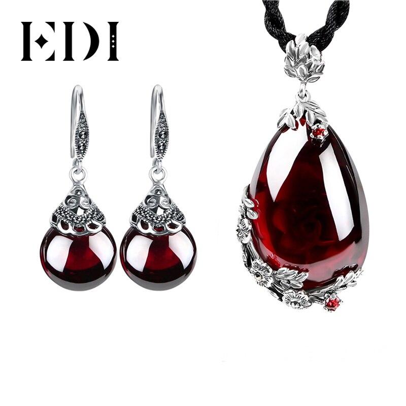 EDI rétro fleur grenat pendentif collier et boucles d'oreilles pour les femmes 100% 925 argent Sterling simulé pierres précieuses ensembles de bijoux