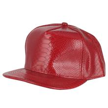Red Hip Hop Baseball CapKorean Style Version PU Leather Flat Cap Street Dance Hat Punk Gorras Snapback Hats Jazz Bone
