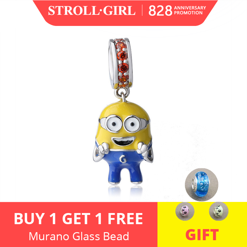 Beads Bracelet Diy Minions Gift Pandora Charms Colorful 925-Silver Authentic Cute Jewelry-Making