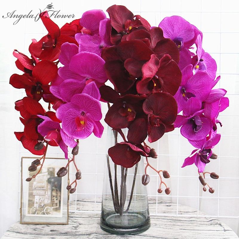 8 головок, большая Орхидея, искусственный цветок, ветка, цвет черный, бордовый, красочный, свадебный Декор для дома, оптовая продажа
