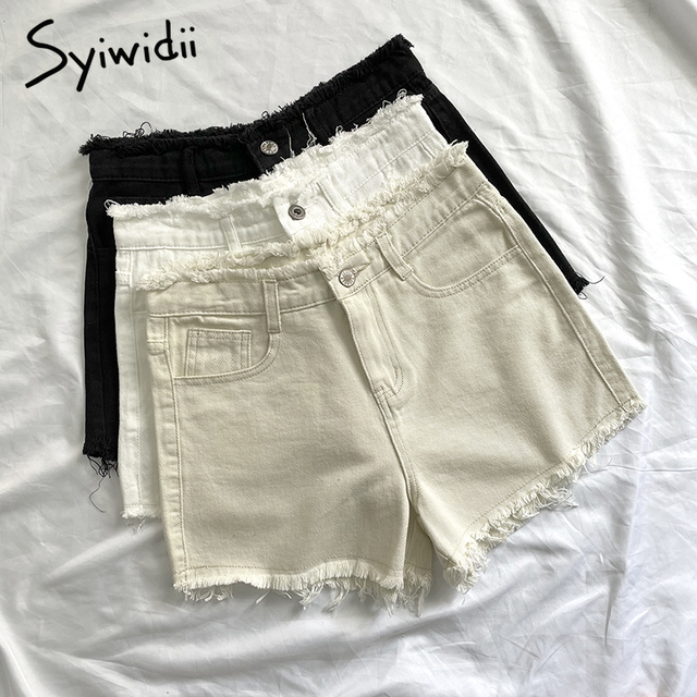 Syiwidii Jean Shorts For Women Summer Plus Size Denim Clothing Booty High Waisted Sweatshorts Fashion Tassel White Black 2021 1