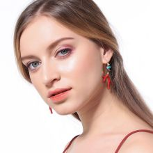 Red Enamel Coral Antlers Branch Acrylic Resin Drop Earrings Girl Fashion Jewelry H8WF