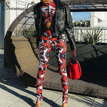 Simenual Print Red Sportswear Skinny Two Piece Sets Women Casual Baddie Clothes Short Sleeve Crop Top And Pants Co-ord Outfits vintage floral print co ord with frill detail