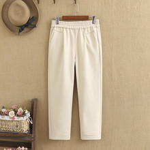 Slacks Plus-Sizes Wool Pockets with on of The-Waist Comfortable Woollen-Trousers Chunky