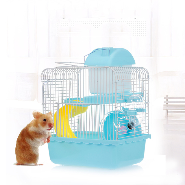 Hamster Cage Portable Carrier Two-Story Hamster Habitat with Hamster Wheel Water Dispenser for Hamster Mouse Small Pets 5