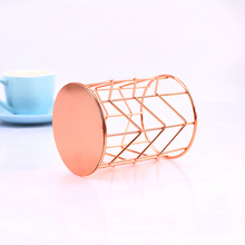 Multifunction Iron Pen Holder Nordic Style Round Makeup Brush Storage Box Office Supplies OUJ99