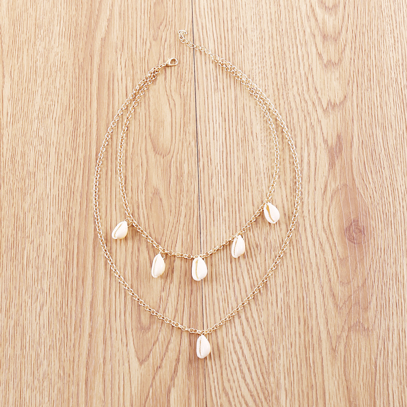 Natural Shell Pendant Tassel Necklaces for Women Clavicle Chain Gold Color 2019 Fashion Jewelry Bohemian Layered Necklace Female