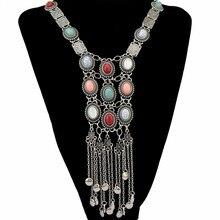 Boho Tassel Gypsy Tribal Vintage Silver Turkish Choker Stone Statement Necklace & Earring Sets Collier Women Indian Jewelry