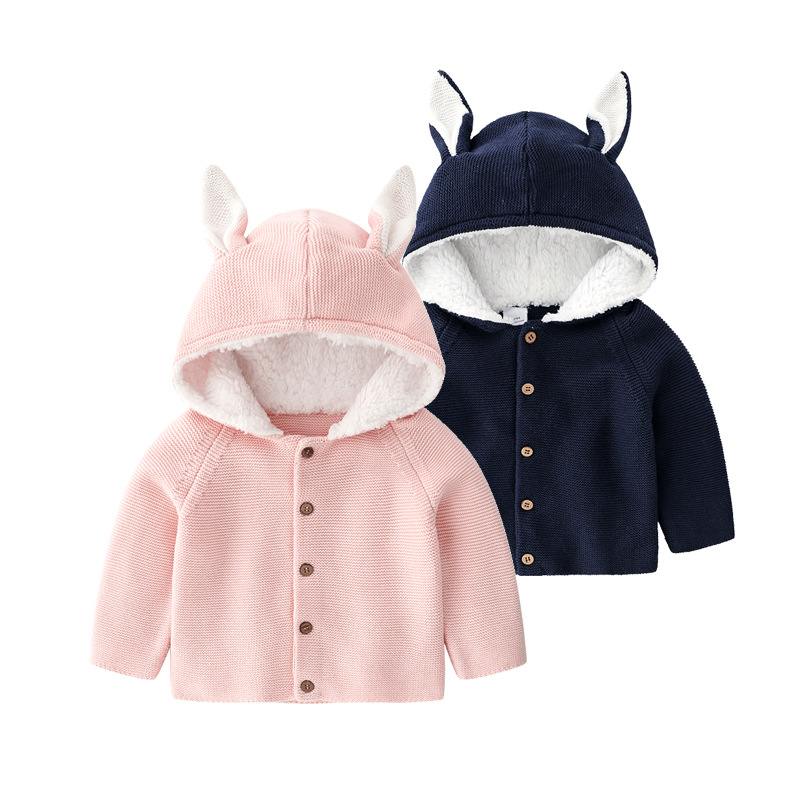 New Autumn Knitted Baby clothes Rabbit knitting baby girls jacket Warm Long Sleeves Knitted Sweater Coat Newborn outwear Infant