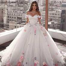 Fairy Off The Shoulder Dubai Ball Gown Flowers Plus Size Bridal Wedding Dresses все цены