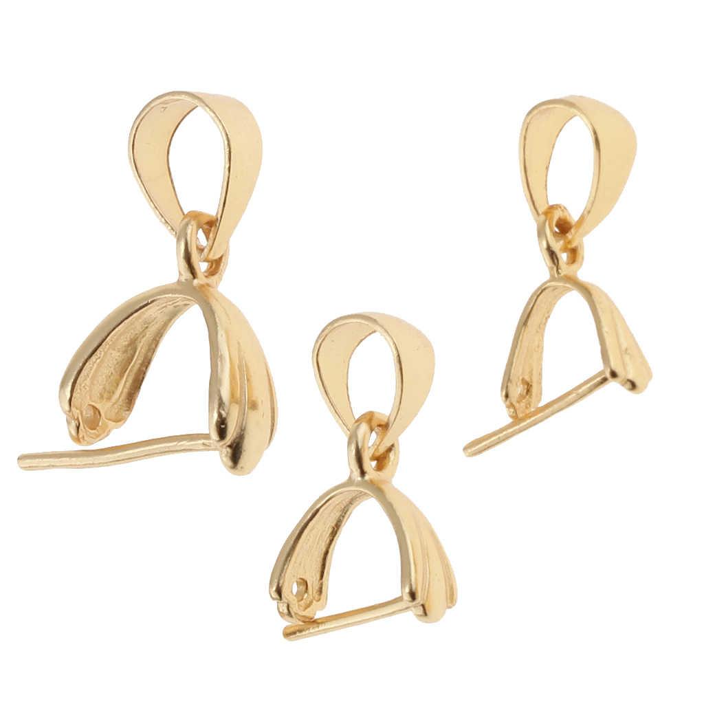 925 Sterling Silver Pinch klip Bail zapięcie dla DIY Charms zawieszki złącze brelok tworzenia biżuterii złota