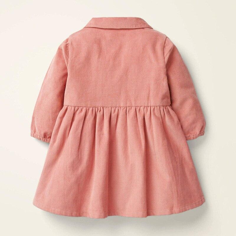 Little maven 2021 Autumn Baby Girls Clothes Brand Dress Animal Kids Corduroy Winter Dress Peter Pan Collar Dress With Button 4