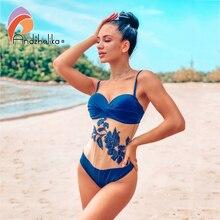 Andzhelika Floral Mesh One Piece Swimsuit Women 2020 Summer Bandeau Push Up Swimwear Bathing Suit Plus Size Swimwear Monokini