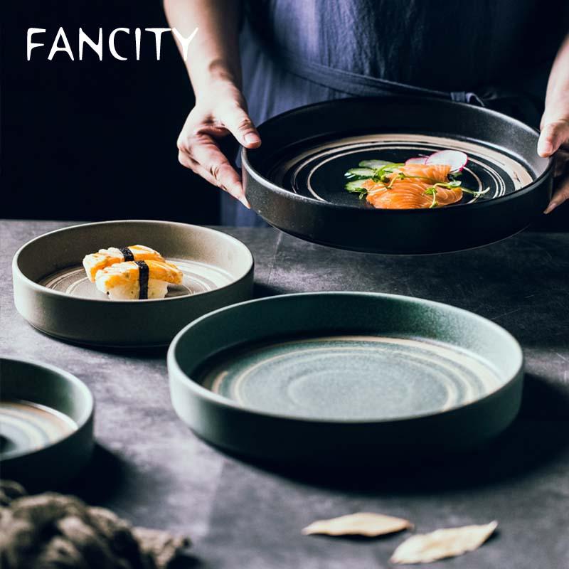 FANCITY Japanese dinner plate creative ceramic plate high-end Japanese style tableware set deep plate flat plate large flat plat