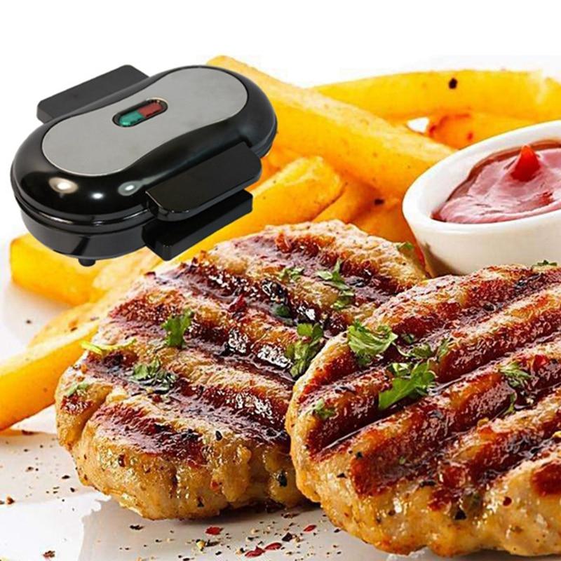Home Mini Panini Sandwich Machine 220V Electric Griddle Hamburger Maker Steak Steak Frying Pan Eggs Cooker 750W EU Plug|  - title=