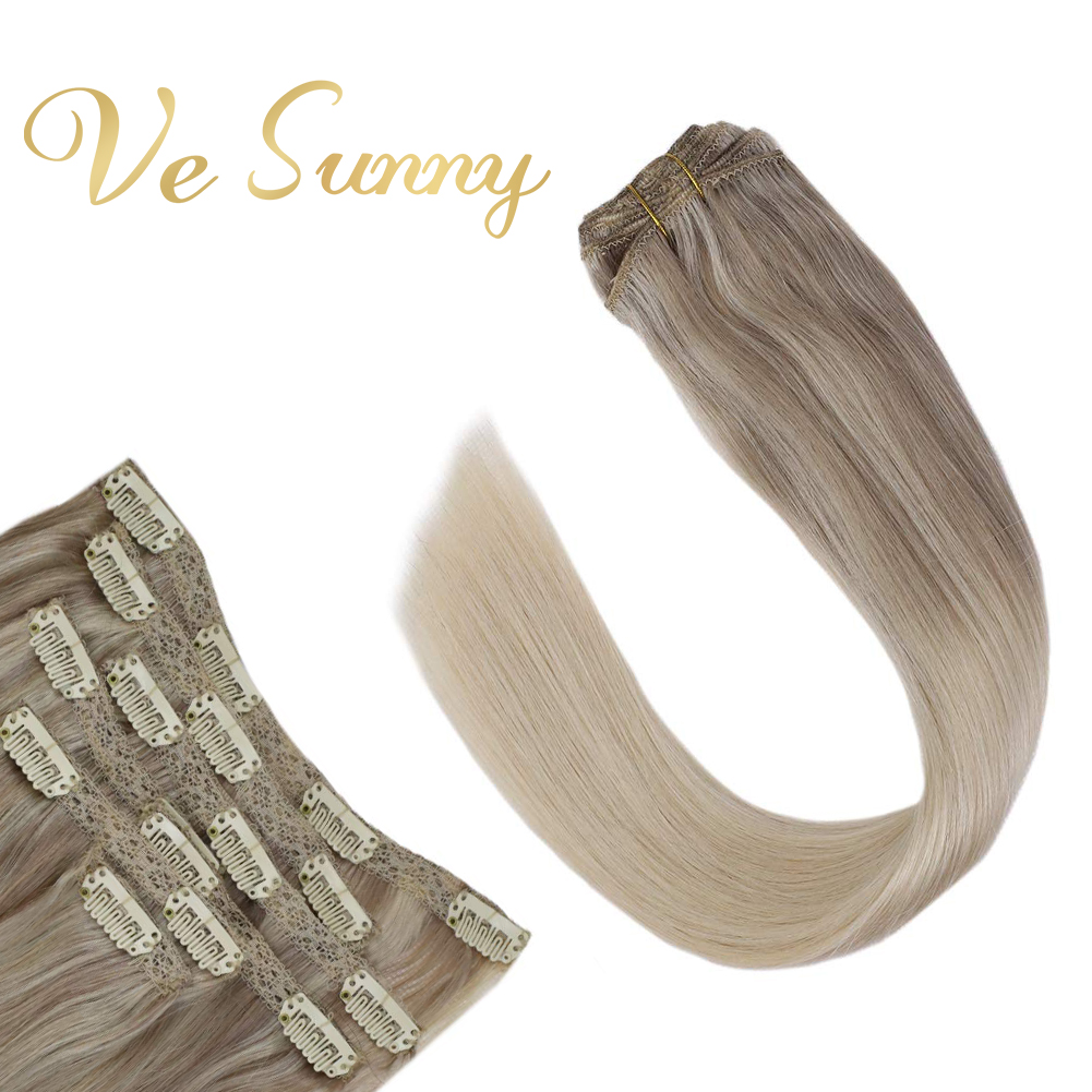 VeSunny Double Weft Clip In Hair Extensions 100% Real Human Hair 7pcs 120gr Clip On Hair Balayage Nordic Blonde