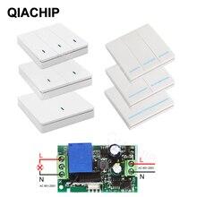Transmissor e interruptor de controle remoto qiachip, painel de parede sem fio rf 433 mhz ac 110v 220v 1 ch receptor de iluminação do quarto