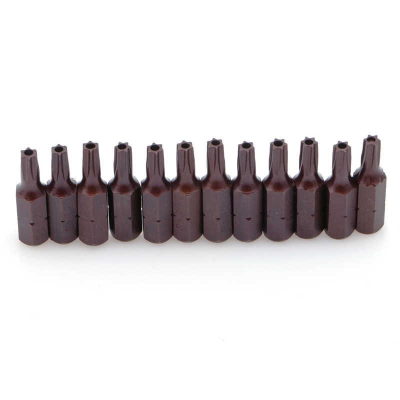 """12Pcs T20 1/4"""" Hex Shank Magnetic Torx Security Screwdriver Bits With Hole 25mm"""
