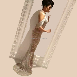 Image 3 - Sexy High Neck Evening Dress Tulle Mermaid/Trumpet Champagne Formal Dress Full Length The Skirt Split Sequins Beaded  Zipper
