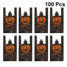 100PCS Plastic Shopping Bags Gifts Bags Pumpkin Pattern Halloween Handle Bag Shopping Tote For Party Candy Supplies(China)