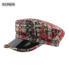SILOQIN  Trend Autumn Winter Womans Fashion Knitting Military Hats Snapback Lady Brand Flat Cap Leisure Tourism Keep Warm