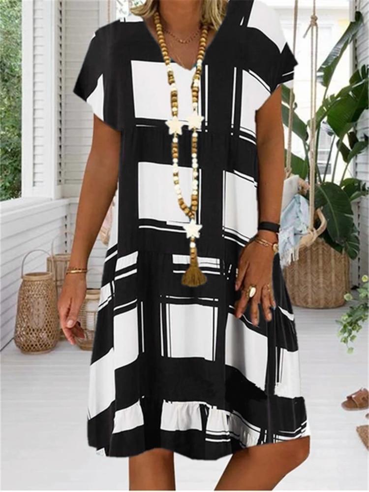 Large Size Women's Dresses Digital Print Short Sleeve V-neck Dresses Boho Clothes Sundress Women Summer Loose Dress Plus Size