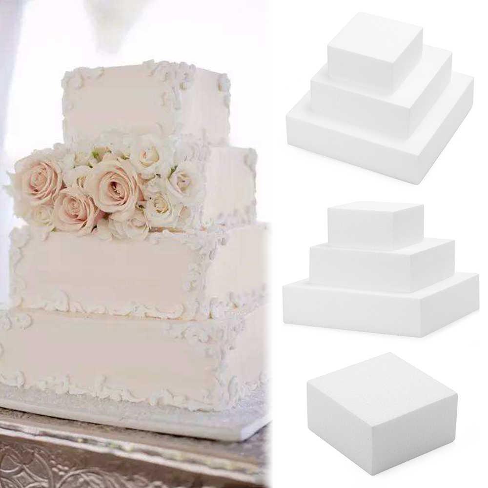 Белая пена 4/6/8/дюймов квадратный пирог манекен моделирование Сахар Ремесло кухня вечерние DIY модель для практики пенопласт для торта пенопласт