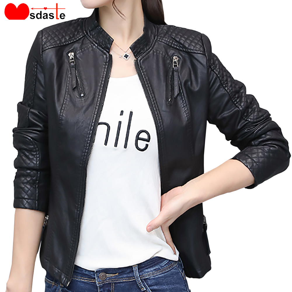Women Pu Leather   Jacket   Coat Spring Autumn Casual Slim Soft Moto   Jacket   Biker Faux Lady Leather Streetwear Female   Basic     Jackets