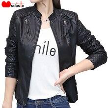Women Pu Leather Jacket Coat Spring Autumn Casual Slim Soft