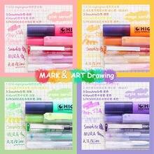 Sharkbang nova chegada 5 unidades/pacote mesma cor série colorido gel caneta diy graffiti desenho caneta marcador caneta escola papelaria