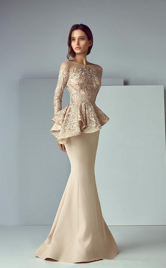 Champagne Muslim Evening Dresses Long Sleeves Appliques Lace Islamic Dubai Saudi Arabia Long Formal Evening Gown