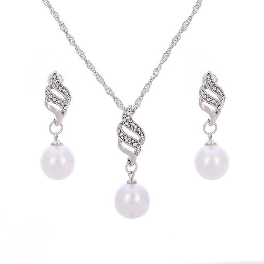 Simple Indian Jewelry Sets Women Imitation Pearl Crystal Earrings