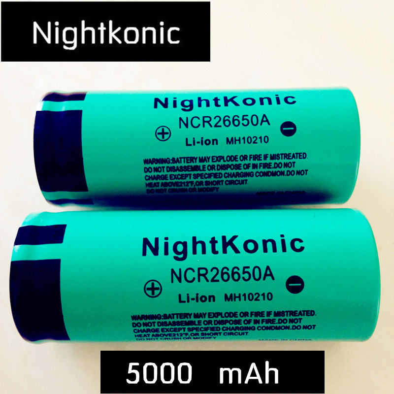 Original High Quality  Nightkonic  26650 Battery 5000mAh 3.7V 50A  Li-ion Rechargeable Battery For LED Flashlight Torch
