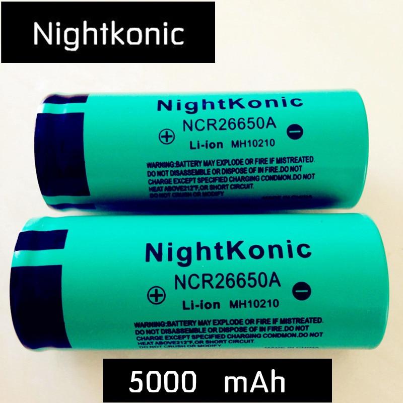 Original de alta qualidade nightkonic 26650 bateria 5000 mah 3.7 v 50a li-ion bateria recarregável para lanterna led tocha