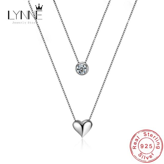 Фото женское двухслойное ожерелье из стерлингового серебра 925 пробы цена
