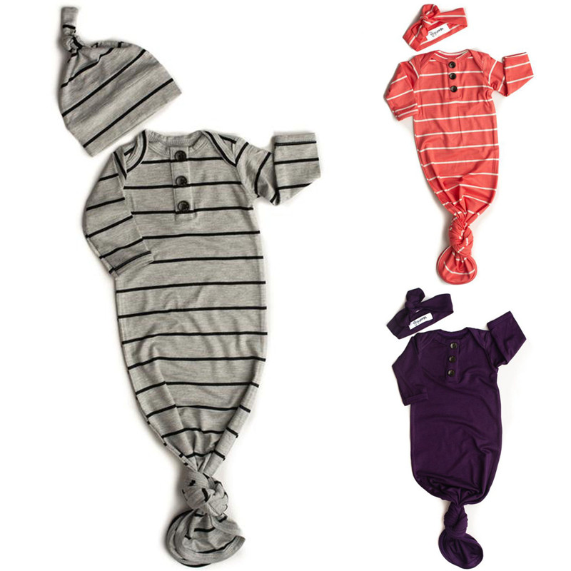 2019 Baby Bedding Sleeping Bags Newborn Infant Baby Stripe Blanket Swaddle Wrap Bedding Clothes Hat 2Pcs Long Sleeve Outfits