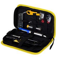 Jcd kit de ferro de solda lcd temperatura ajustável 110v 220v 80w ferramentas de retrabalho de solda pontas de ferro fios bomba aquecedor suporte