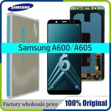 Süper AMOLED LCD Samsung Galaxy A6 2018 ekran A600F dokunmatik ekran Digitizer paneli meclisi A6 artı A6050 LCD A6050F ekran