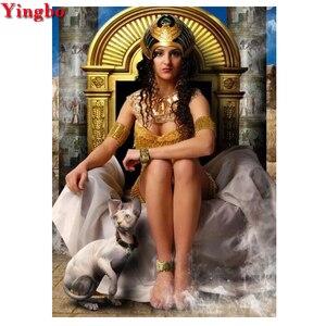 Полная квадратная круглая Алмазная вышивка египетская красота и Сфинкс кошки Diy 5D алмазная живопись наборы для вышивки крестиком ремесла и ...