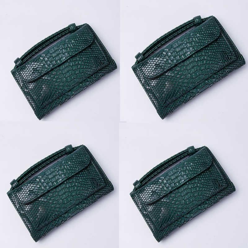 Arabia Saudita Stile di lusso delle donne del raccoglitore del Coccodrillo modello Multifunzione Ragazze Supporto di Carta Della Borsa Lunga del raccoglitore della Frizione del sacchetto verde