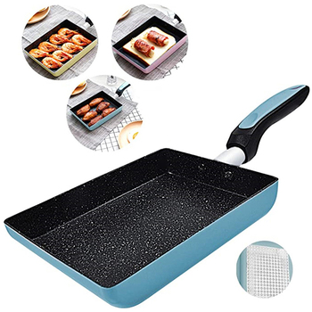 Tamagoyaki japońska patelnia do omletów patelnia do smażenia jajek-nieprzywierająca powłoka-prostokątna patelnia Mini patelnia-niebieski żółty różowy tanie i dobre opinie GLANYOMI CN (pochodzenie) KT136 CE UE Lfgb 20 cm Z aluminium Nieprzywierający Patelnie do omletów stop aluminium Bez pokrywę garnka