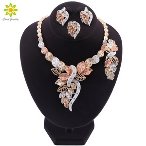 Image 1 - Fashion African Beads Necklace Earrings Set Nigerian Woman Wedding Jewelry Set Brand Dubai Gold Colorful Jewelry Sets