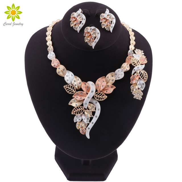 Fashion African Beads Necklace Earrings Set Nigerian Woman Wedding Jewelry Set Brand Dubai Gold Colorful Jewelry Sets