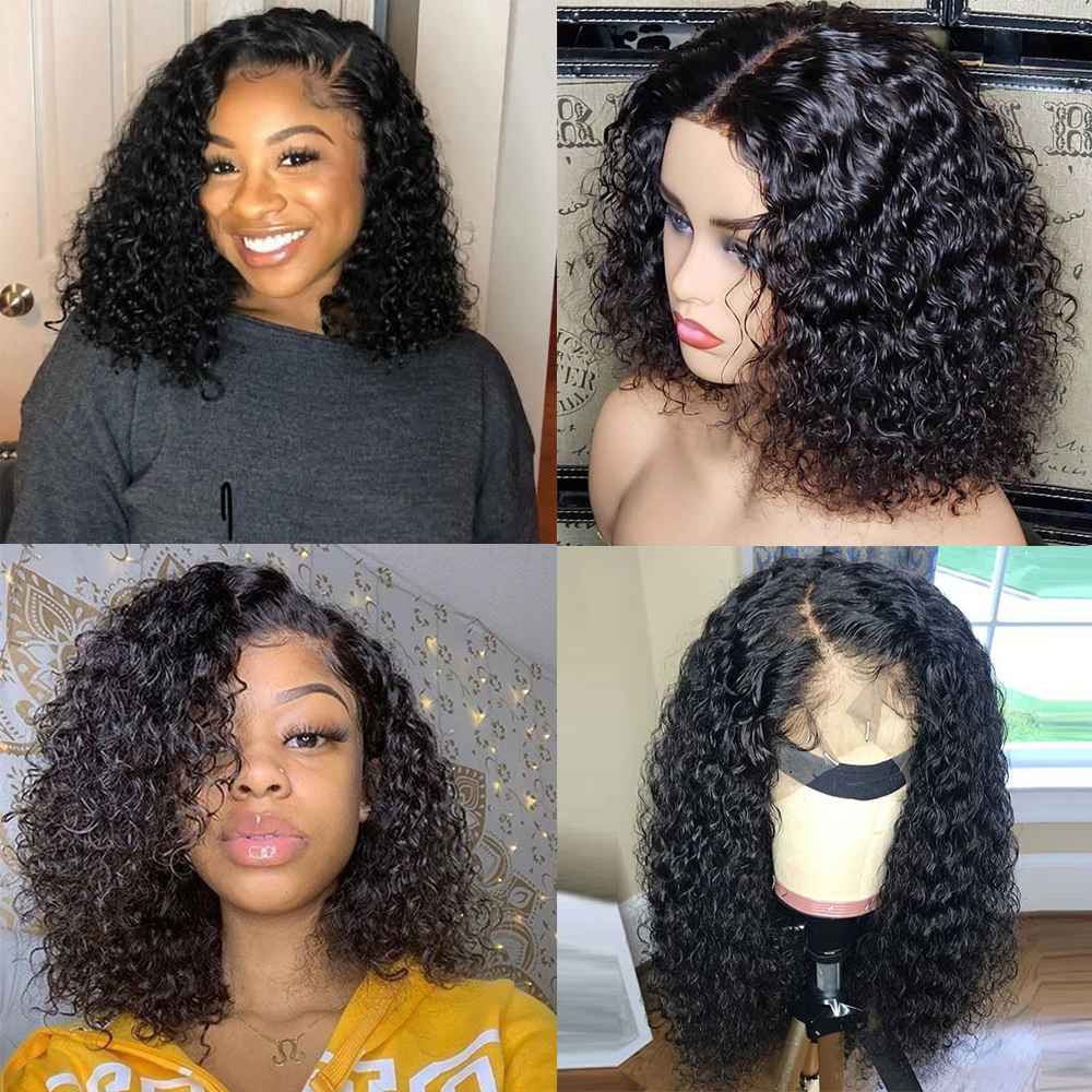 13*4 Bob Lace Front Wigs Kinky Curly Lace Front Bob Human Hair Wigs Kinky Curly Human Hair Wig Pre-Plucked With Baby Hair Remy