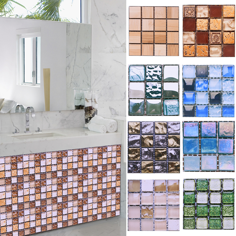 10pcs 10*10CM Mosaic Waterproof Wall Stickers Simulation Tiles Self Adhesive Wall Stickers DIY Home Bathroom Kitchen Decorations 1