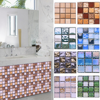 10pcs 10*10CM Mosaic Waterproof Wall Stickers Simulation Tiles Self Adhesive Wall Stickers DIY Home Bathroom Kitchen Decorations