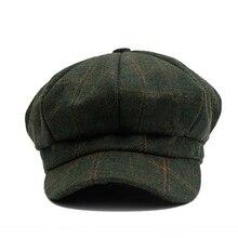 Новая осенне-Весенняя Милая Повседневная восьмиугольная шляпа женская маленькая головной убор в клетку британская ретро утка язык маляр шерстяная шляпа