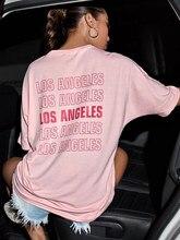 Camiseta estampada de Los Angels para mujer, ropa Rosa Kawaii a la moda, 100% algodón, informal, divertida, estética