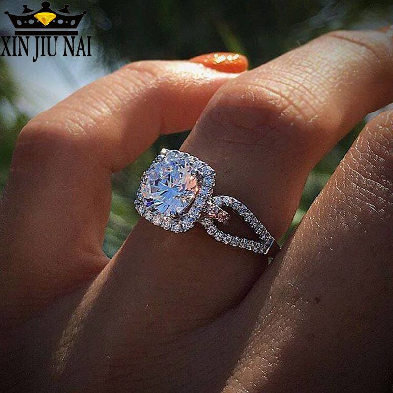 סגנון לבן קריסטל 925 כסף טבעות נשים חתונת מעוקב Zirconia טבעת תכשיטים מעוקב zirconia טבעת יוקרה מותג טבעת