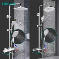 MICOE ensemble de douche thermostatique mélangeur de douche Chrome robinet corps cuivre coulée robinet 5 mode buse